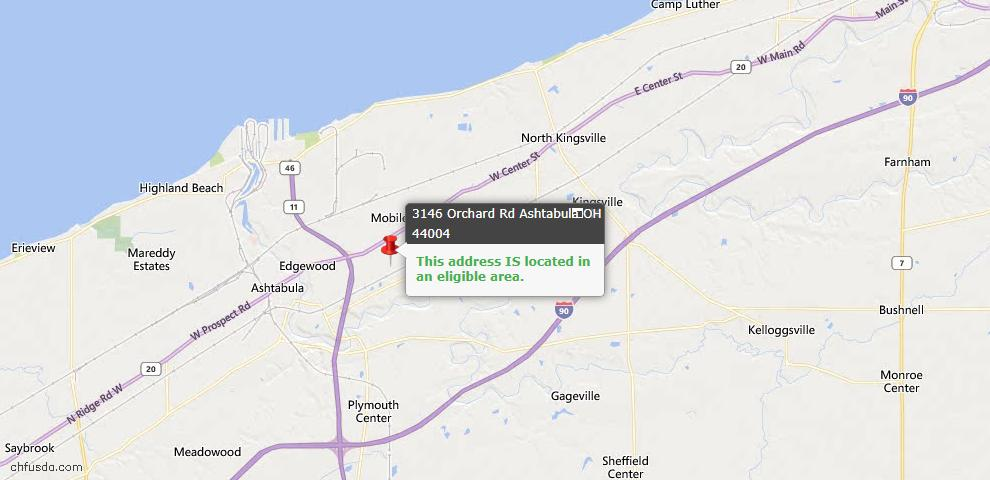 USDA Loan Eligiblity Map - 3146 Orchard Rd, Ashtabula, OH 44004