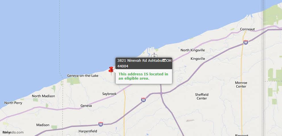 USDA Loan Eligiblity Map - 3821 Ninevah Rd, Ashtabula, OH 44004