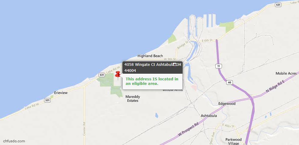 USDA Loan Eligiblity Map - 4058 Wingate Ct, Ashtabula, OH 44004