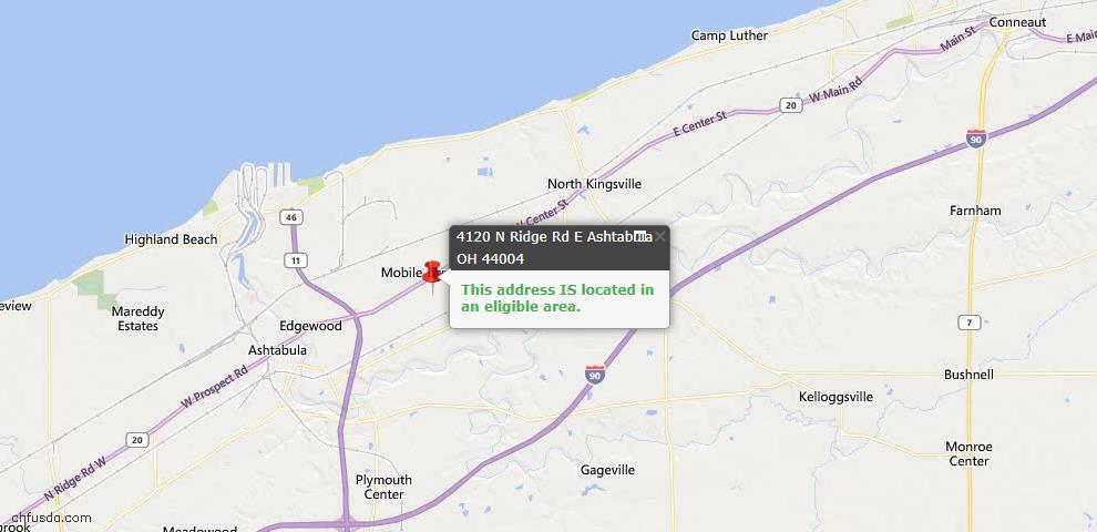 USDA Loan Eligiblity Map - 4120 N Ridge Rd E, Ashtabula, OH 44004
