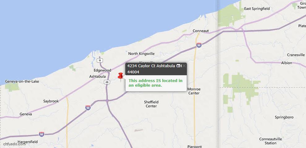 USDA Loan Eligiblity Map - 4234 Caylor Ct, Ashtabula, OH 44004