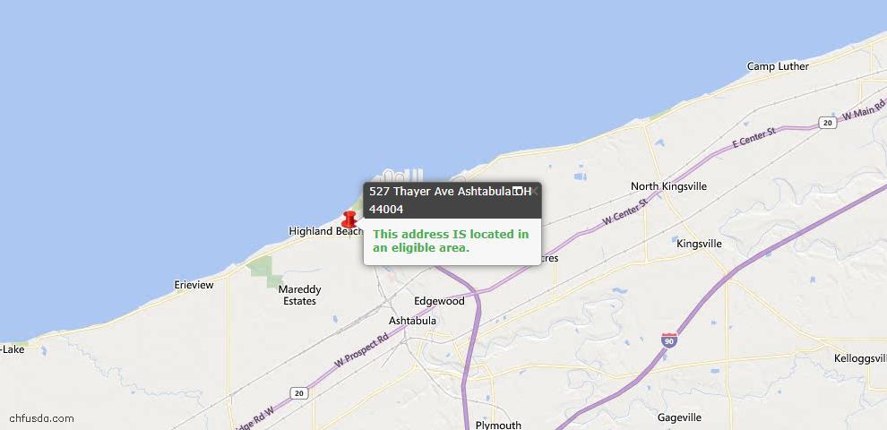 USDA Loan Eligiblity Map - 527 Thayer Ave, Ashtabula, OH 44004