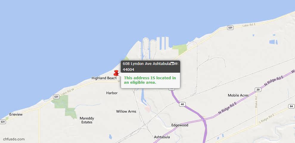 USDA Loan Eligiblity Maps From - Ashtabula County, OH