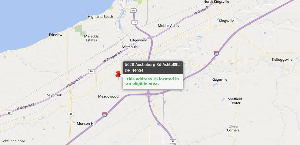 USDA Loan Eligiblity Map - 6628 Austinburg Rd, Ashtabula, OH 44004