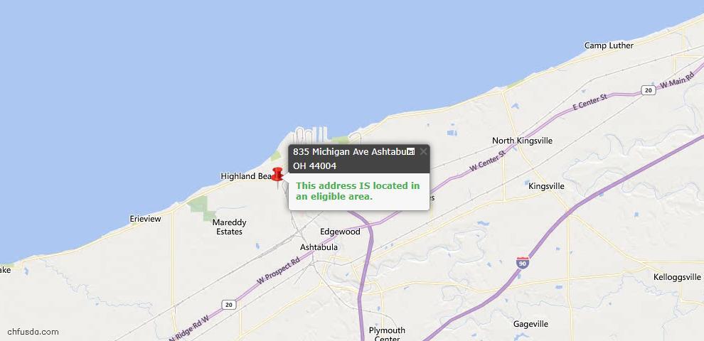 USDA Loan Eligiblity Map - 835 Michigan Ave, Ashtabula, OH 44004