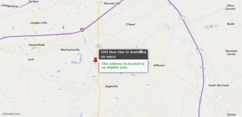 USDA Loan Eligiblity Map - 2995 River Glen Dr, Austinburg, OH 44010