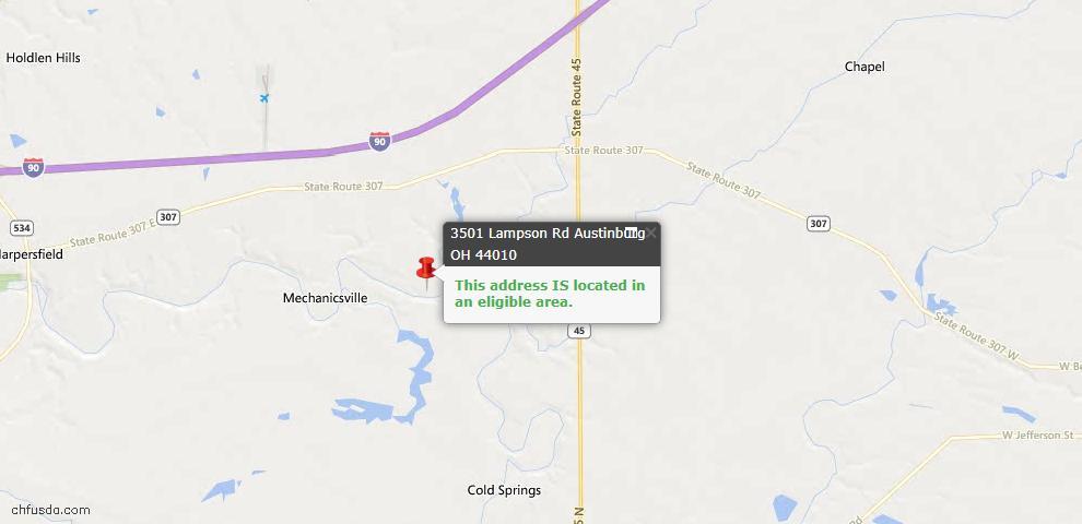USDA Loan Eligiblity Maps From - Austinburg, OH
