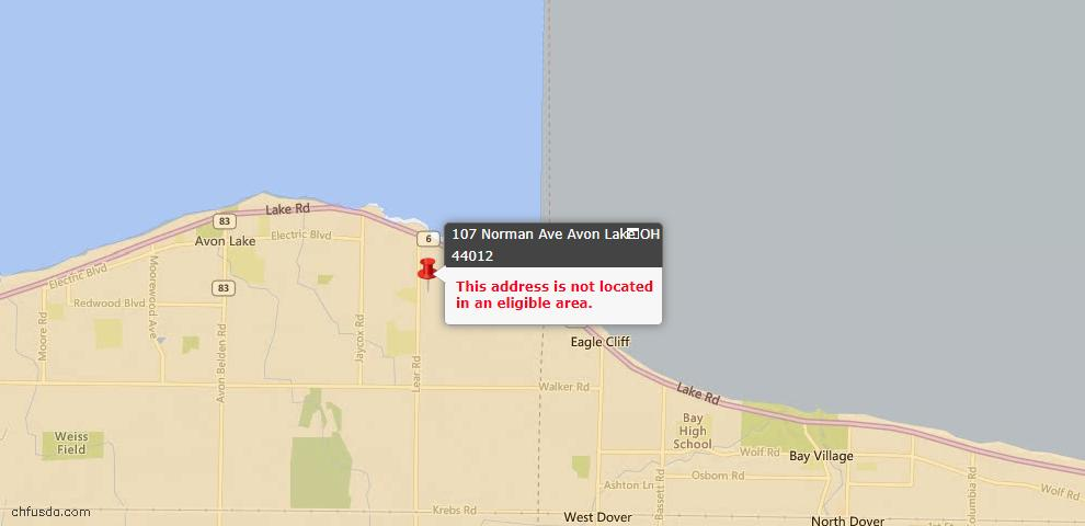 USDA Loan Eligiblity Map - 107 Norman Ave, Avon Lake, OH 44012