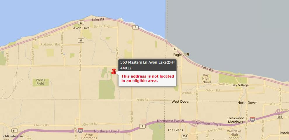 USDA Loan Eligiblity Maps From - 44012, OH