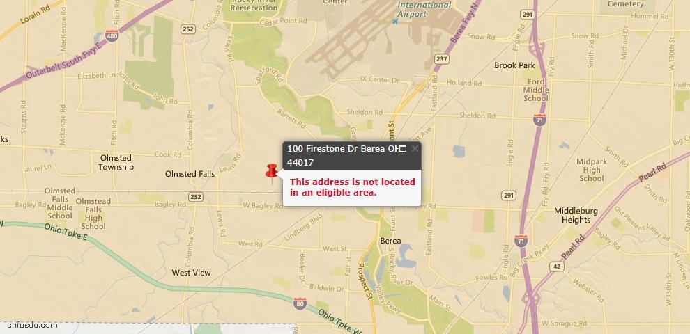 USDA Loan Eligiblity Map - 100 Firestone Dr, Berea, OH 44017
