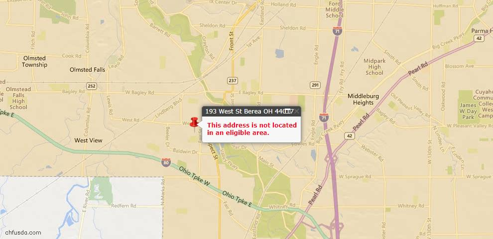 USDA Loan Eligiblity Maps From - Berea, OH