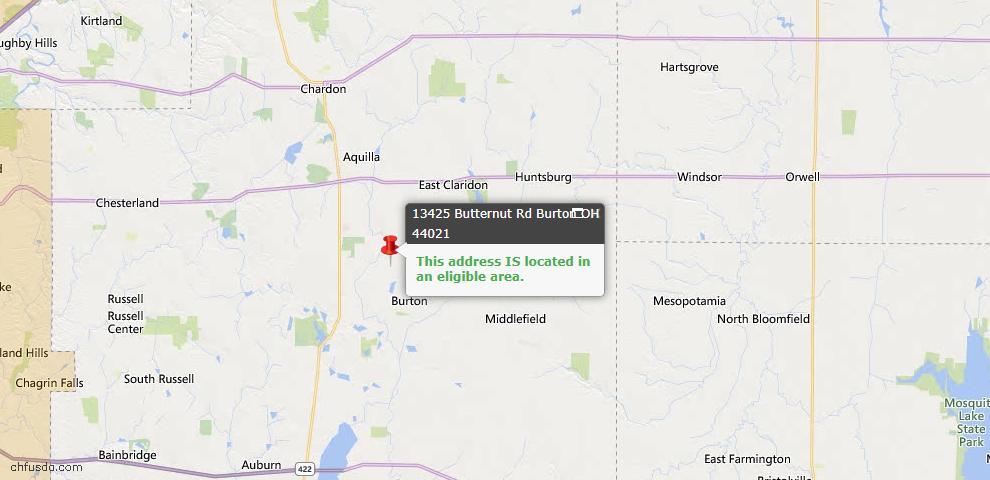 USDA Loan Eligiblity Map - 13425 Butternut Rd, Burton, OH 44021