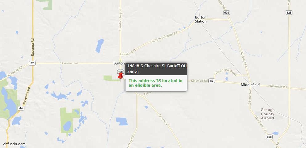 USDA Loan Eligiblity Maps From - Burton, OH