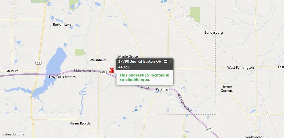 USDA Loan Eligiblity Map - 17790 Jug Rd, Burton, OH 44021