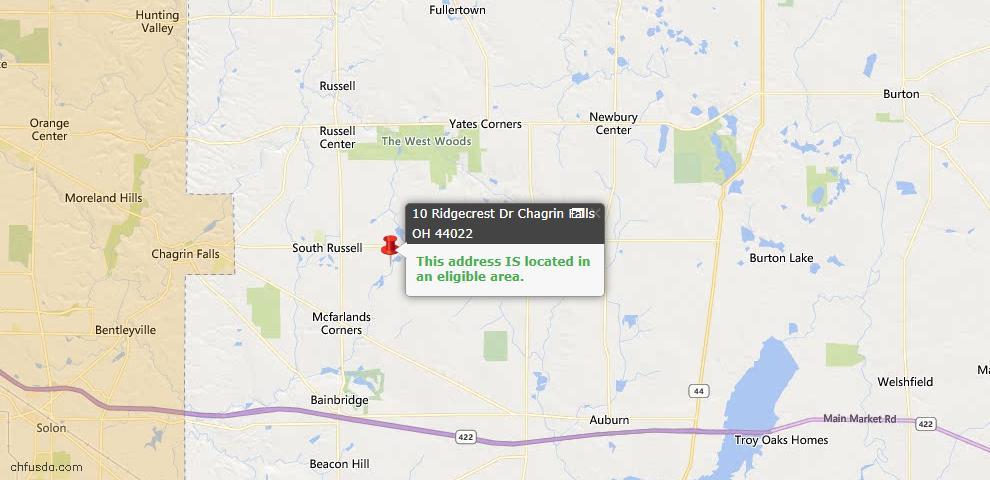 USDA Loan Eligiblity Map - 10 Ridgecrest Dr, Chagrin Falls, OH 44022