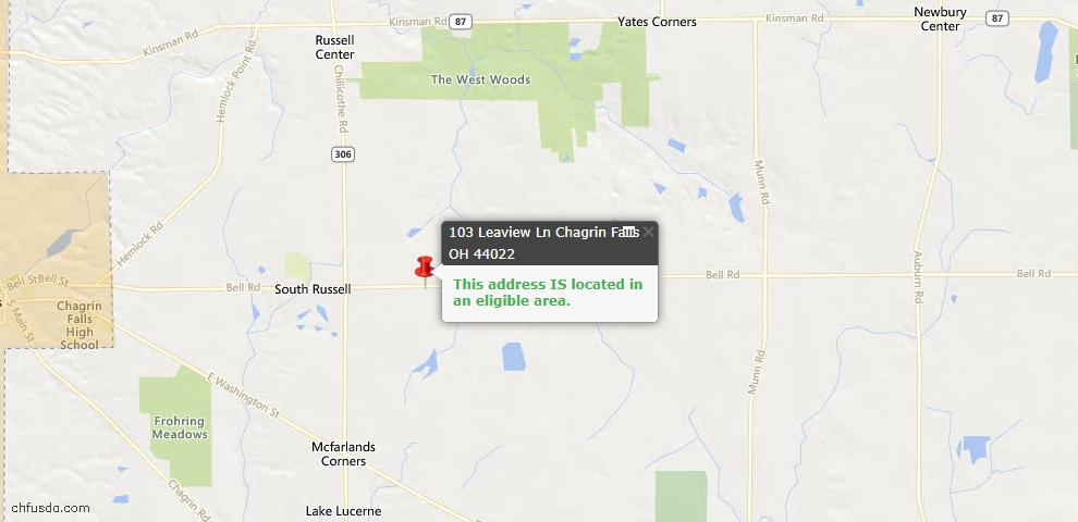 USDA Loan Eligiblity Map - 103 Leaview Ln, Chagrin Falls, OH 44022