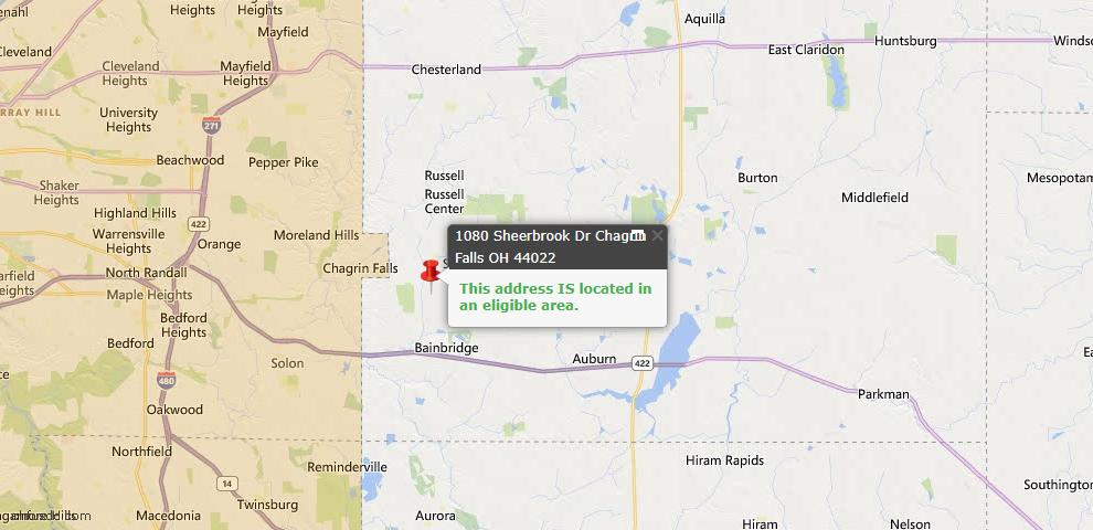 USDA Loan Eligiblity Map - 1080 Sheerbrook Dr, Chagrin Falls, OH 44022