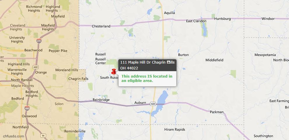 USDA Loan Eligiblity Map - 111 Maple Hill Dr, Chagrin Falls, OH 44022