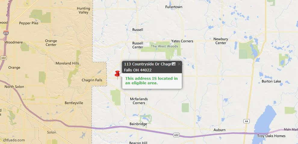 USDA Loan Eligiblity Map - 113 Countryside Dr, Chagrin Falls, OH 44022