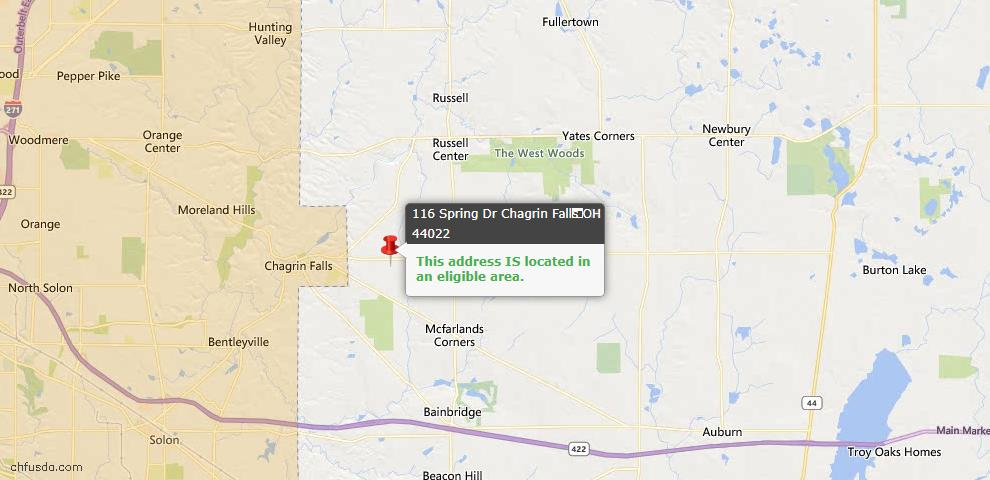 USDA Loan Eligiblity Map - 116 Spring Dr, Chagrin Falls, OH 44022