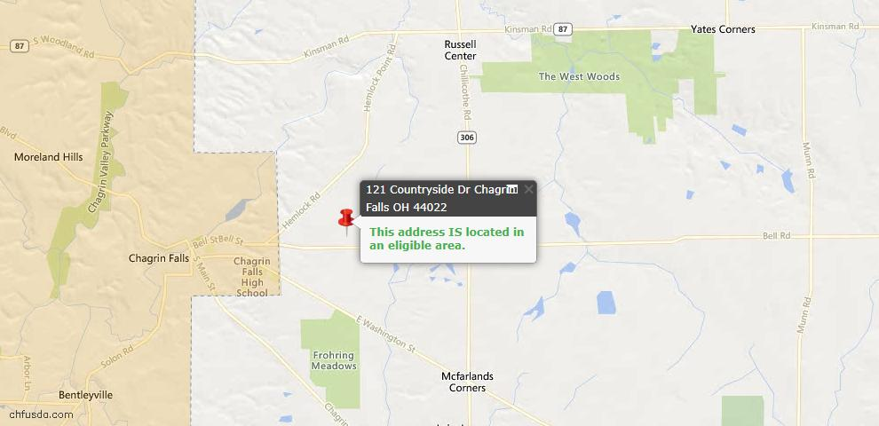 USDA Loan Eligiblity Map - 121 Countryside Dr, Chagrin Falls, OH 44022