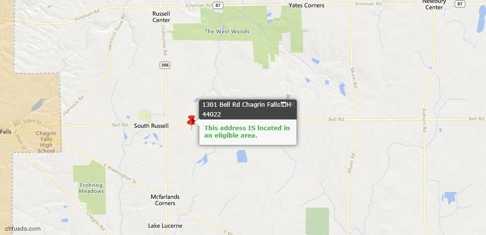 USDA Loan Eligiblity Maps From - Chagrin Falls, OH