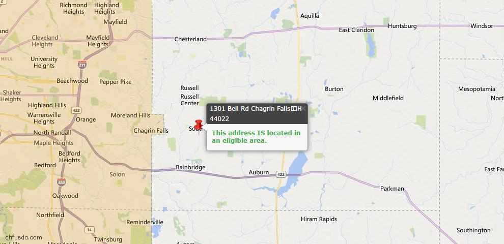USDA Loan Eligiblity Map - 1301 Bell Rd, Chagrin Falls, OH 44022