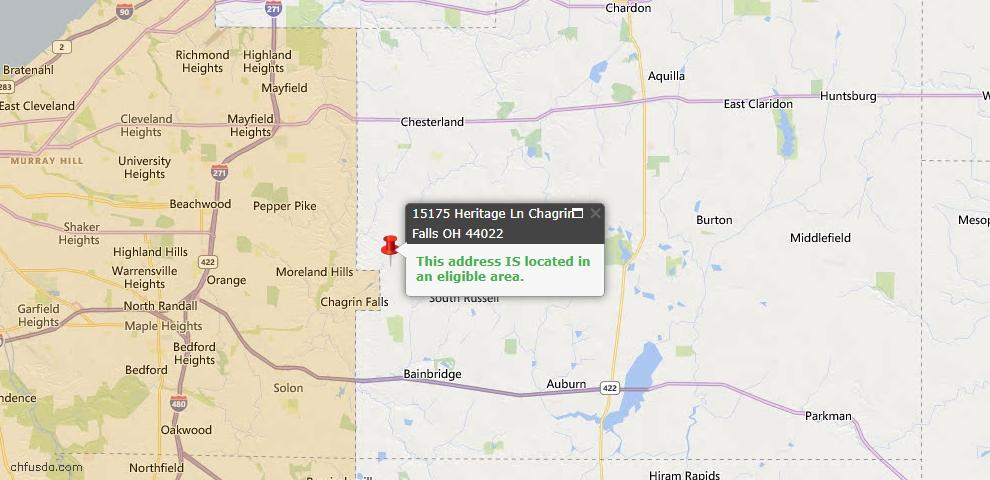 USDA Loan Eligiblity Map - 15175 Heritage Ln, Chagrin Falls, OH 44022
