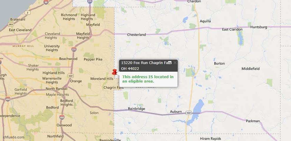 USDA Loan Eligiblity Map - 15220 Fox Run, Chagrin Falls, OH 44022