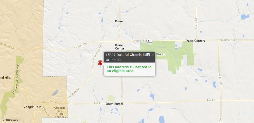 USDA Loan Eligiblity Map - 15327 Dale Rd, Chagrin Falls, OH 44022
