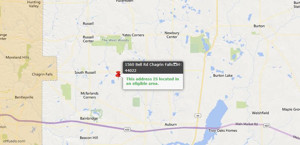 USDA Loan Eligiblity Map - 1560 Bell Rd, Chagrin Falls, OH 44022