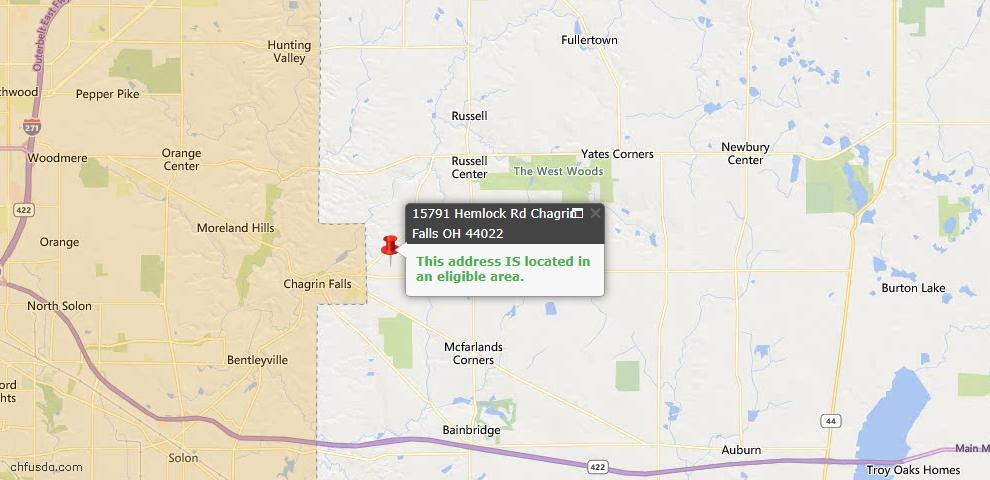 USDA Loan Eligiblity Map - 15791 Hemlock Rd, Chagrin Falls, OH 44022