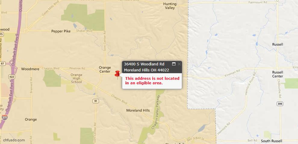USDA Loan Eligiblity Maps From - Moreland Hills, OH