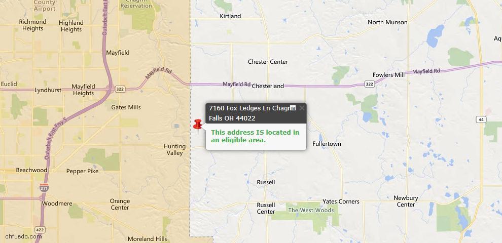 USDA Loan Eligiblity Map - 7160 Fox Ledges Ln, Chagrin Falls, OH 44022