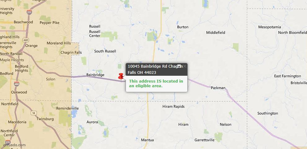 USDA Loan Eligiblity Map - 10045 Bainbridge Rd, Chagrin Falls, OH 44023
