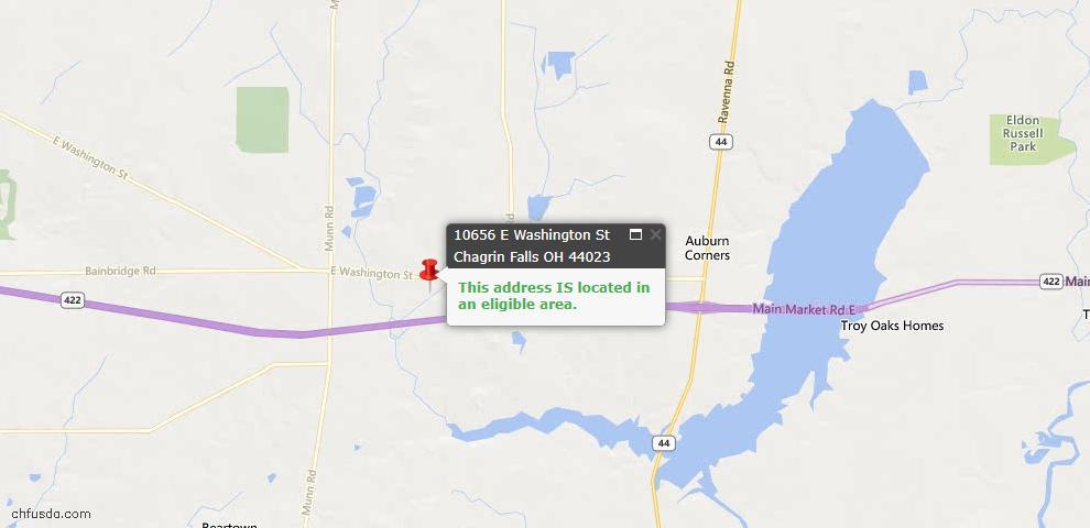 USDA Loan Eligiblity Map - 10656 E Washington St, Chagrin Falls, OH 44023