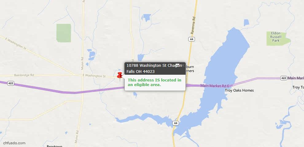 USDA Loan Eligiblity Map - 10788 Washington St, Chagrin Falls, OH 44023