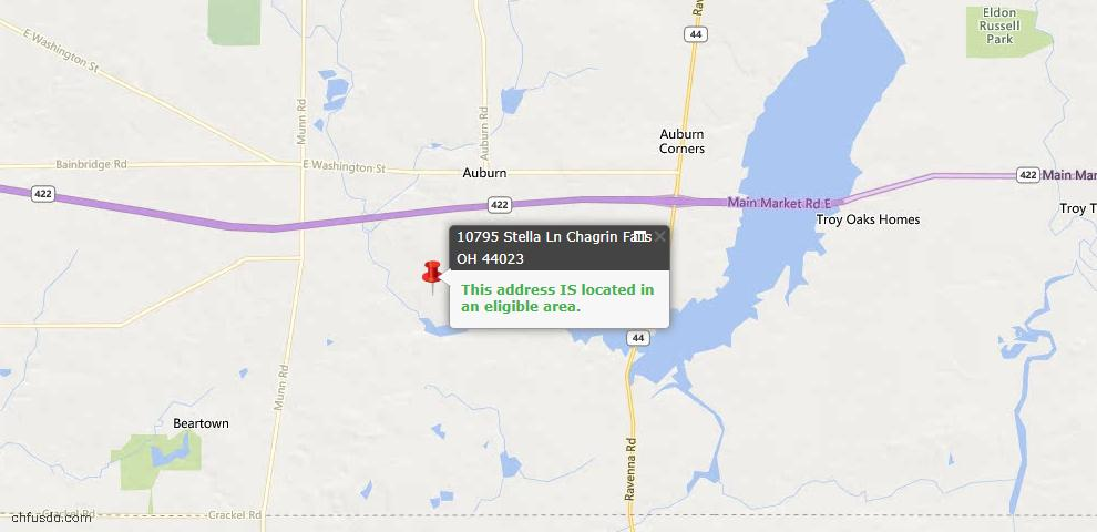 USDA Loan Eligiblity Map - 10795 Stella Ln, Chagrin Falls, OH 44023
