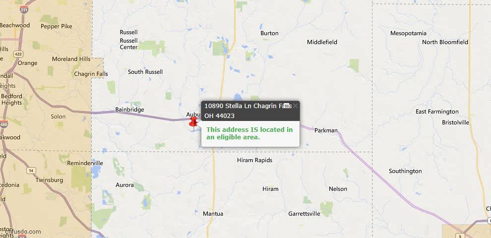 USDA Loan Eligiblity Map - 10890 Stella Ln, Chagrin Falls, OH 44023