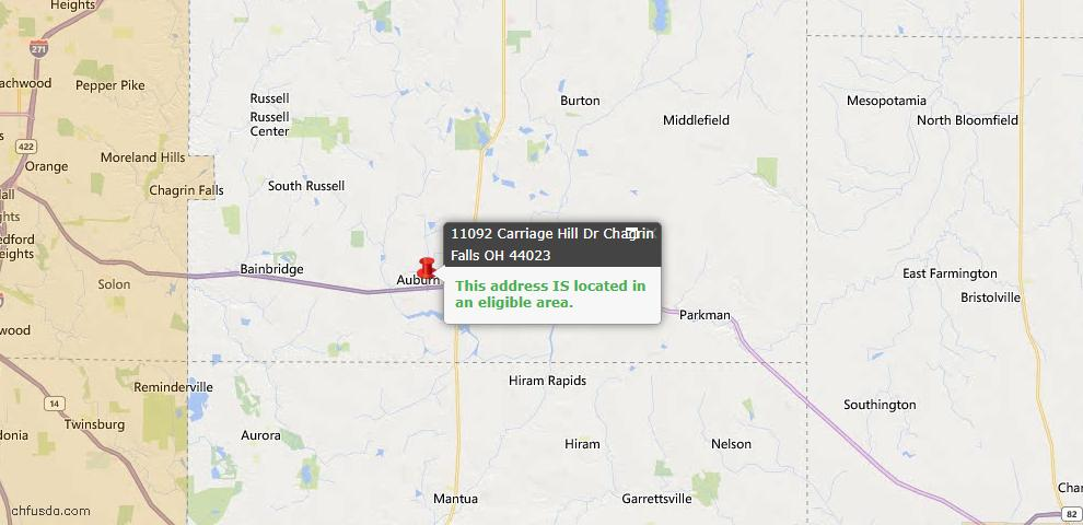 USDA Loan Eligiblity Map - 11092 Carriage Hill Dr, Chagrin Falls, OH 44023