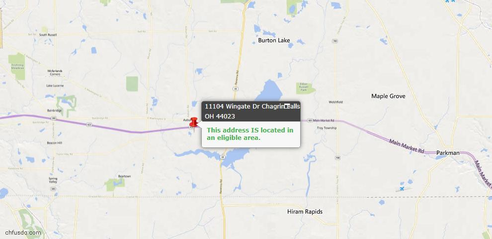 USDA Loan Eligiblity Map - 11104 Wingate Dr, Chagrin Falls, OH 44023