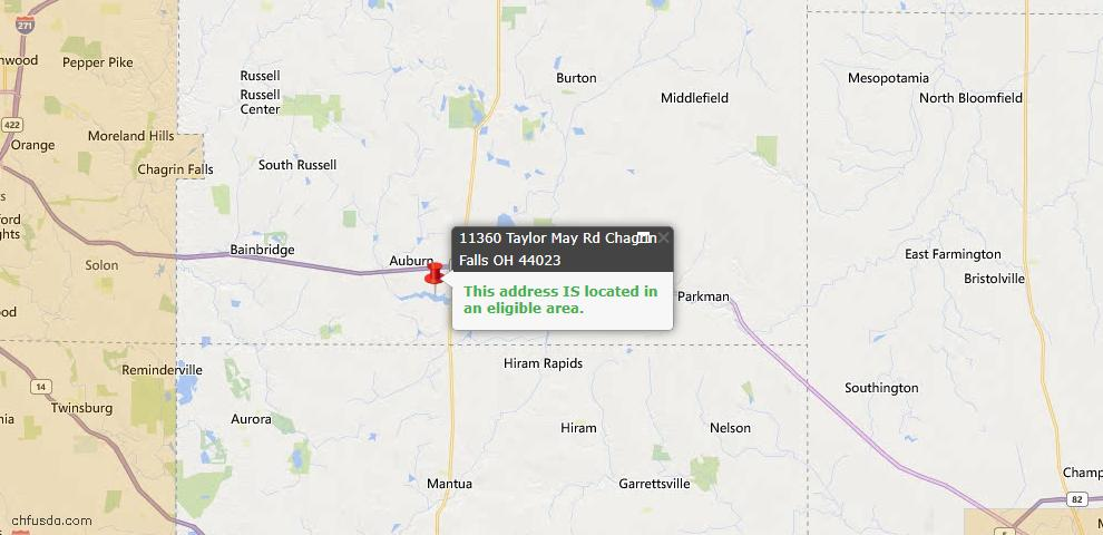 USDA Loan Eligiblity Map - 11360 Taylor May Rd, Chagrin Falls, OH 44023
