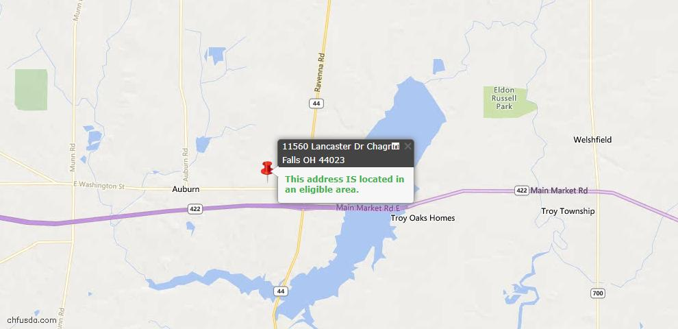 USDA Loan Eligiblity Map - 11560 Lancaster Dr, Chagrin Falls, OH 44023