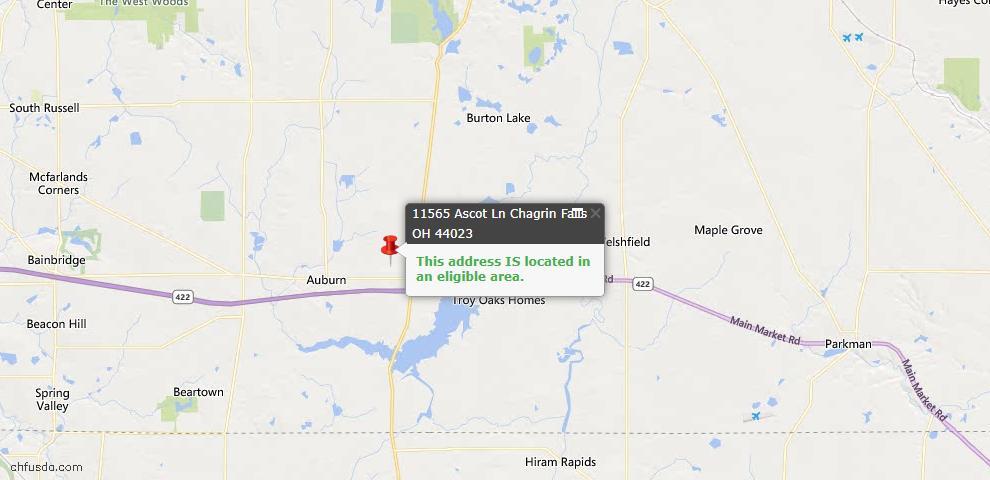 USDA Loan Eligiblity Map - 11565 Ascot Ln, Chagrin Falls, OH 44023