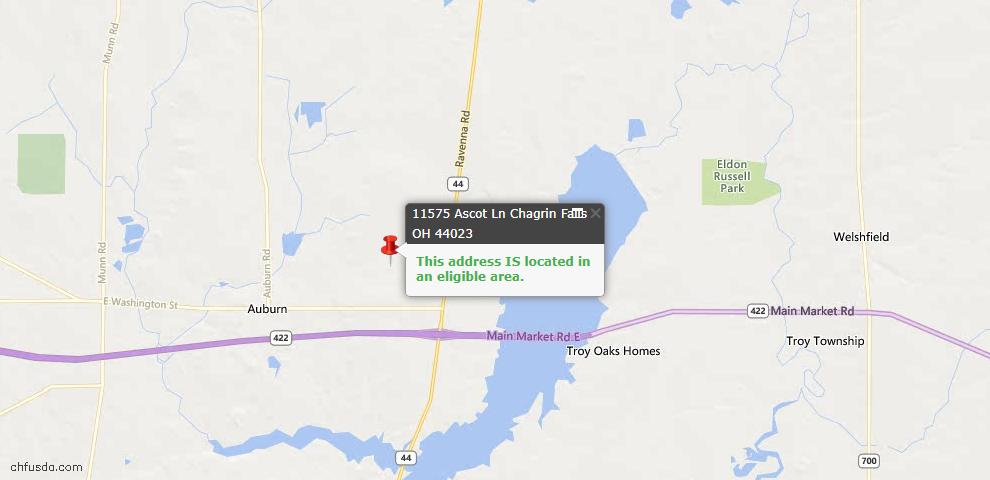 USDA Loan Eligiblity Map - 11575 Ascot Ln, Chagrin Falls, OH 44023