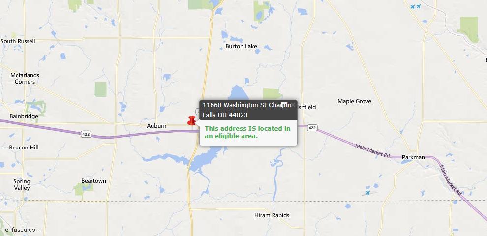 USDA Loan Eligiblity Map - 11660 Washington St, Chagrin Falls, OH 44023