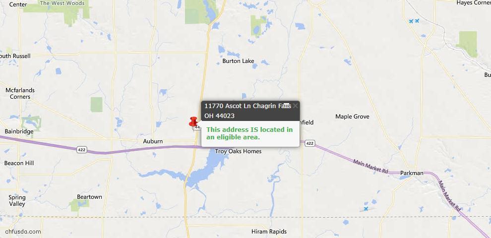 USDA Loan Eligiblity Map - 11770 Ascot Ln, Chagrin Falls, OH 44023
