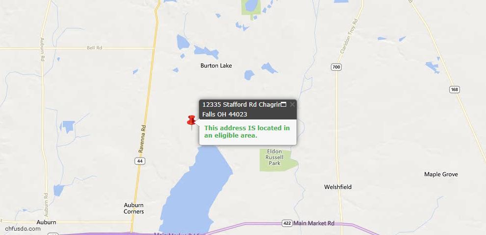 USDA Loan Eligiblity Map - 12335 Stafford Rd, Chagrin Falls, OH 44023