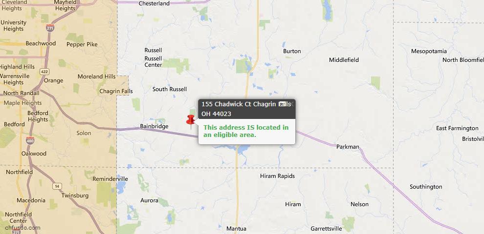 USDA Loan Eligiblity Map - 155 Chadwick Ct, Chagrin Falls, OH 44023