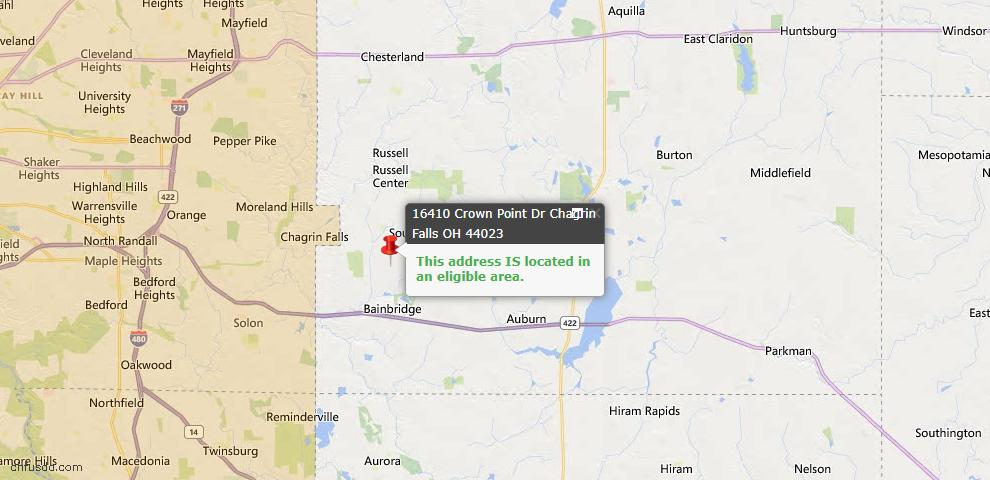 USDA Loan Eligiblity Map - 16410 Crown Pointe, Chagrin Falls, OH 44023